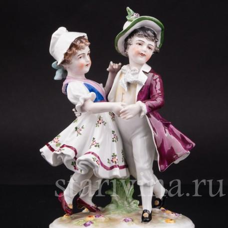 Фарфоровая статуэтка Танцующие дети, Volkstedt, Германия, кон. 19 века.